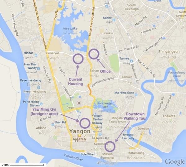 Map of Yangon