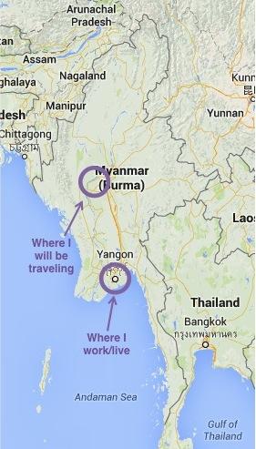 Yangon to Pakokku Map